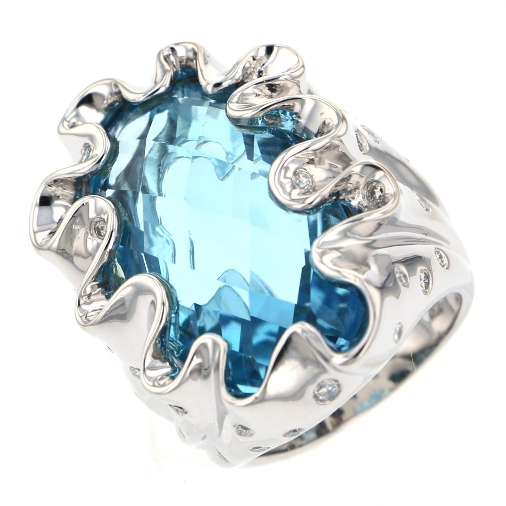 Yukizaki Select Jewelry YUKIZAKI SELECT JEWELRY ring White Gold Blue topaz ring New product jewelry