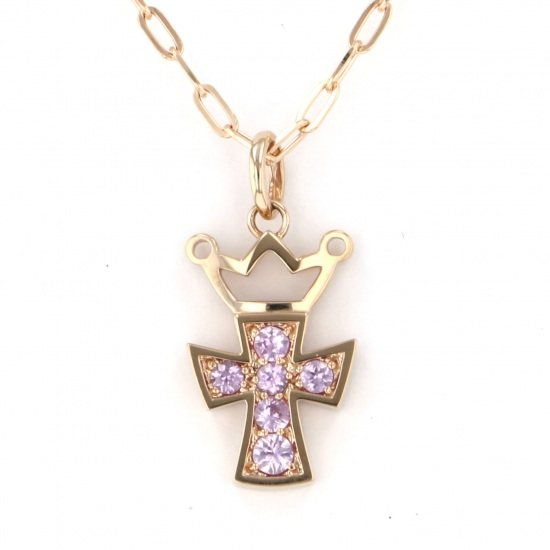 gagamilano necklace_pendant Gaga Milano Necklace / pendant Yellow Gold cross Pink Sapphire -