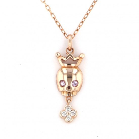 gagamilano necklace_pendant Gaga Milano Necklace / pendant Pink gold Crown skull Pink Sapphire -