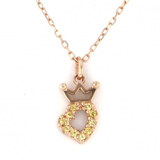 gagamilano necklace_pendant Gaga Milano Necklace / pendant Pink gold heart Yellow sapphire -