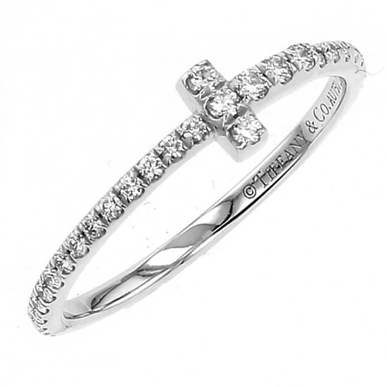 tiffany ring Tiffany ring White Gold T wire ring #9 -