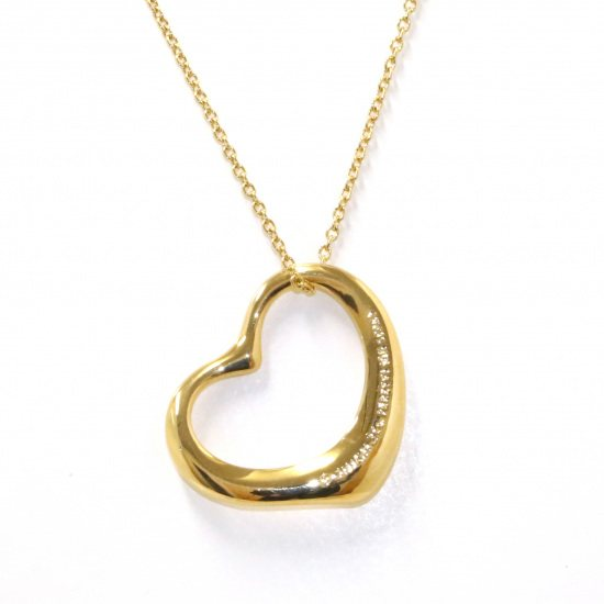 tiffany necklace_pendant Tiffany Necklace / pendant Yellow Gold Open heart necklace -