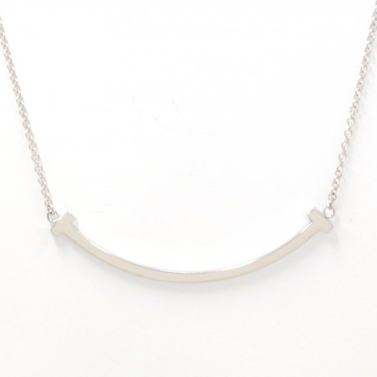 tiffany necklace_pendant Tiffany Necklace / pendant White Gold T smile Mini size necklace -