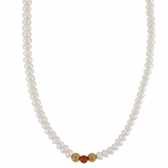 pearl necklace パール ネックレス イエローゴールド 淡水パール ネックレス -