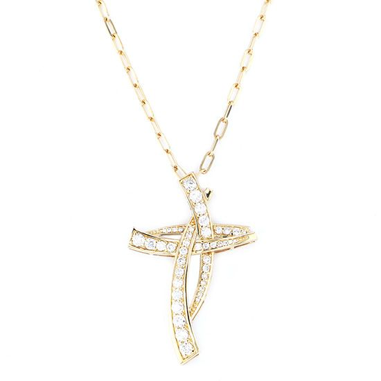 yukizaki necklace_pendant Snowy Necklace / pendant Yellow Gold Cross necklace w50140.2.6