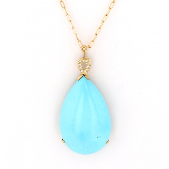 Yukizaki Select necklace_pendant Yukizaki Select Jewelry Necklace / pendant Yellow Gold Turquoise necklace -