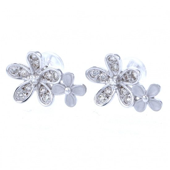 Yukizaki Select piercing_earrings Yukizaki Select Jewelry Earrings White Gold diamond flower -