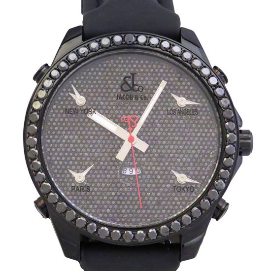 jacobco fivetimezone JACOB&CO Five Time Zone Bezel black diamond jc-130dc