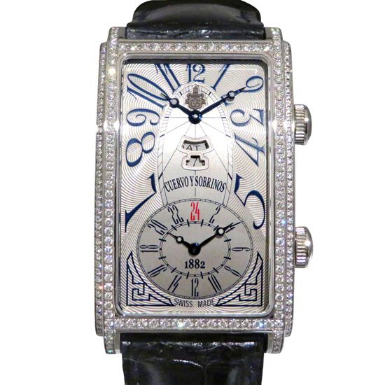 crow and nephews celebrity Cuervo y Sobrinos Prominente Dual time Day-date Bezel diamond 1124-1aag-s3