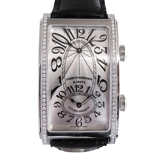 crow and nephews celebrity Cuervo y Sobrinos Prominente Dual time Bezel diamond 1112-1ag-s1